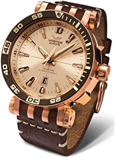 Vostok-Europe Energia 2 NH35-575B281 Leather Gold Brown Watch Pilot Automatic 49mm