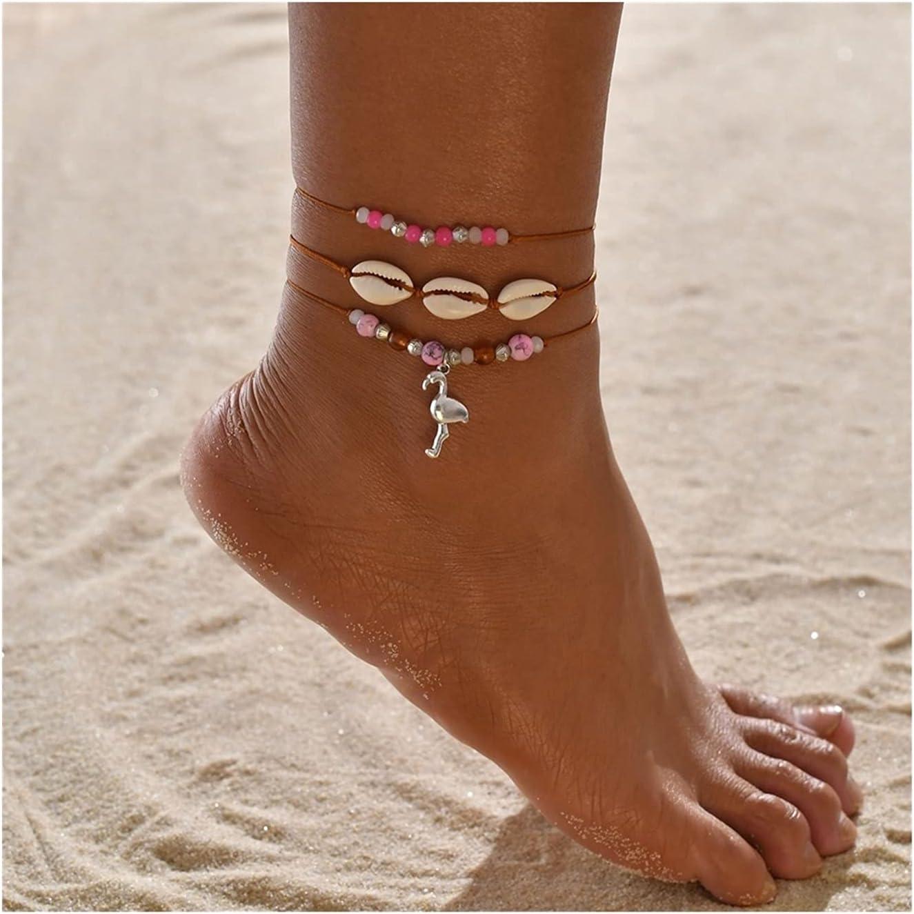 WAZG SYBLD Female Bohemian Shell Heart-Shaped Summer Anklet (Metal Color : 14)