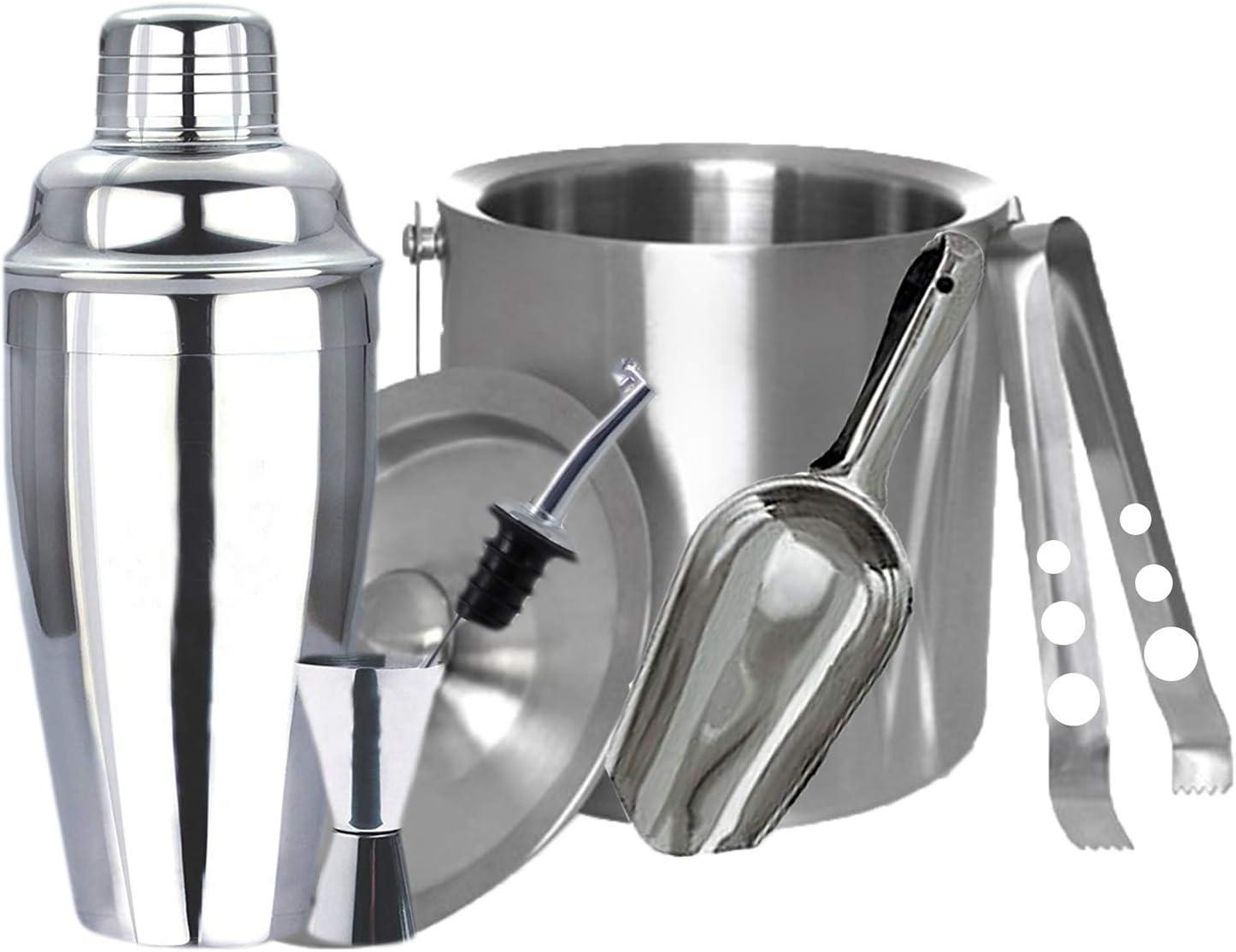 Casa Haus en acier inoxydable Professional Premium Cocktail shaker int/égr/é Passoire M/étal et Pourer Livre de recettes et seau /à glace // Scoop // Tong Bar Set 24 Oz Jigger