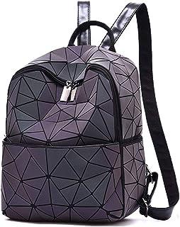 School Bag Geometric Rhombic Variety Folding Bookbag Ladies Luminous Casual Backpack Suitable for Students, Travel,Bluminous