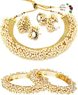 YouBella Jewelry Bollywood Ethnic Gold Plated Traditional Pearl Indian Necklace Set with Earrings and Bangles Combo for Wo...