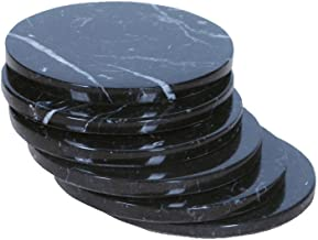 CraftsOfEgypt Set of 4 - Black Marble Stone Coasters – Polished Coasters – 3.5 Inches (9 cm) in Diameter – Protection from Drink Rings
