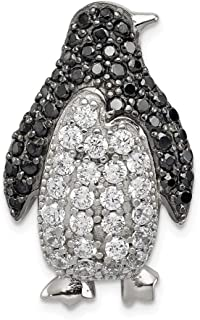 925 Sterling Silver Black White Cubic Zirconia Cz Penguin Slide Necklace Pendant Charm Chain Fine Jewelry Gifts For Women For Her