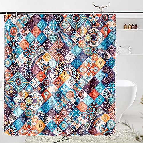 VIVILINEN Duschvorhänge aus Polyester Wasserabweisend Shower Curtain Anti-Schimmel Duschvorhang Anti-Bakteriell mit 12 Duschvorhangringen 200*180cm(BxH)