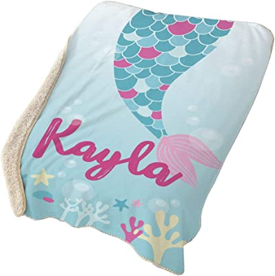 GiftsForYouNow Mermaid Tail Personalized Sherpa Blanket ...
