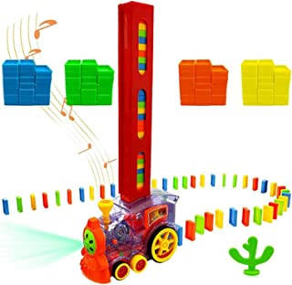 AM ANNA Domino Electric Train Model Set with Light and Sound with Colorful Building Blocks (60 Pieces)