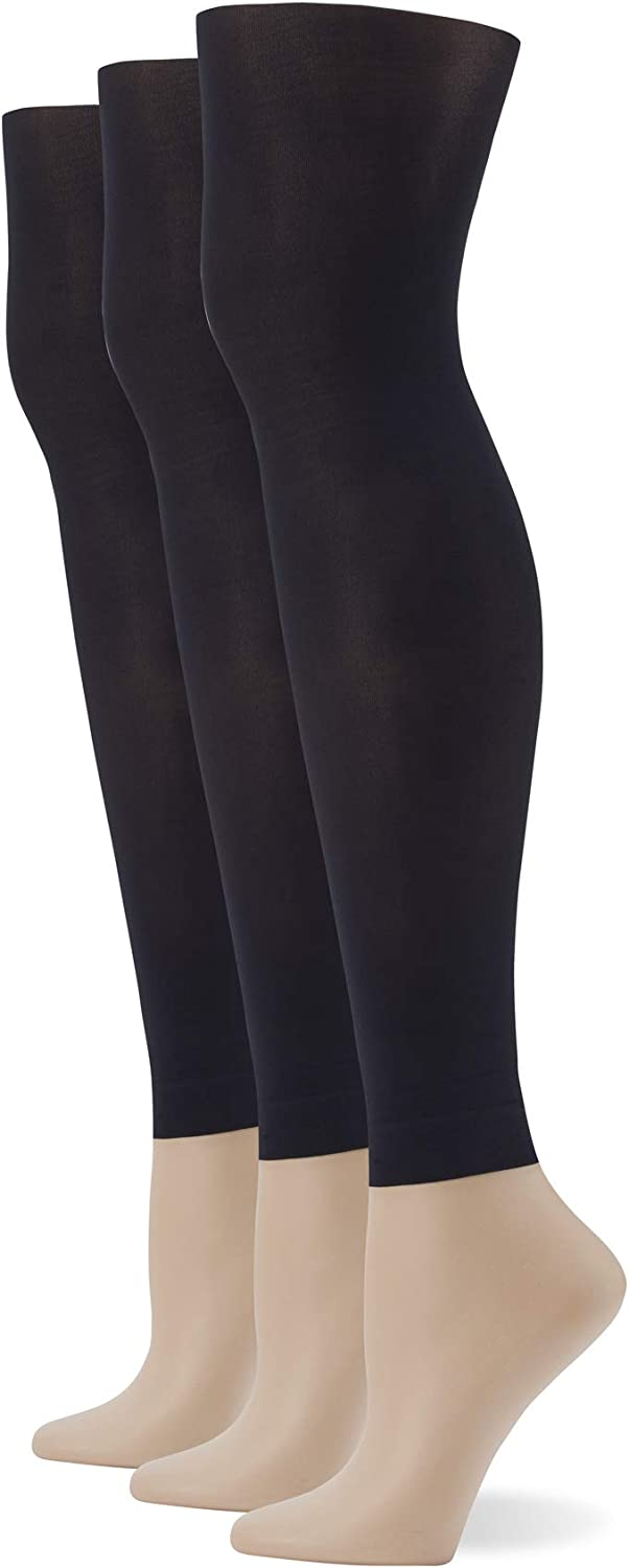 No Nonsense womens Plus Size Footless Comfort Waist Tight, 3 Pair Pack