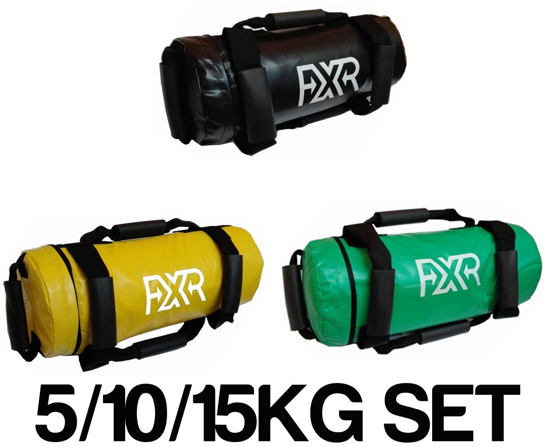 power bags amazon co ukset of 5 10 15kg fxr filled weighted power bag fitness mma sand handles