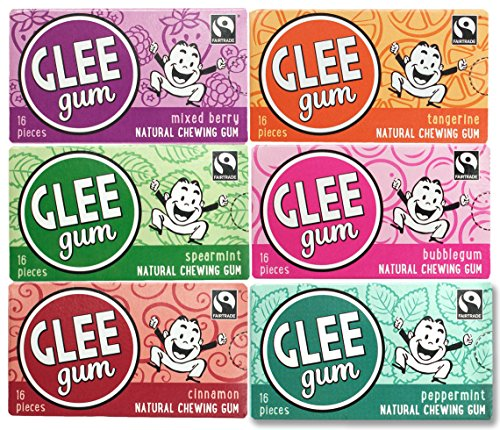 Glee Gum All Natural Variety Gum Pack, Non GMO Project Verified, Eco Friendly, 16 Piece Box, Variety...