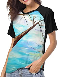 Tops O Neck T Shirts,Abstract Blue Old Metal Texture with Rust S-XXL Baseball Women Short Shirts