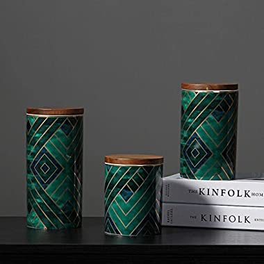 Ceramics Storage Jar Coffee Canister Sugar Bowl Vintage Green Modern Kitchen Canister with Airtight Bamboo Lid for Food Stora