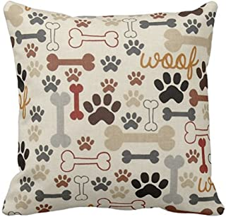 SPXUBZ Dog Bones and Paw Prints Custom Black Pillow Cover Decorative Home Decor Nice Gift Square Indoor/Outdoor Pillowcase...