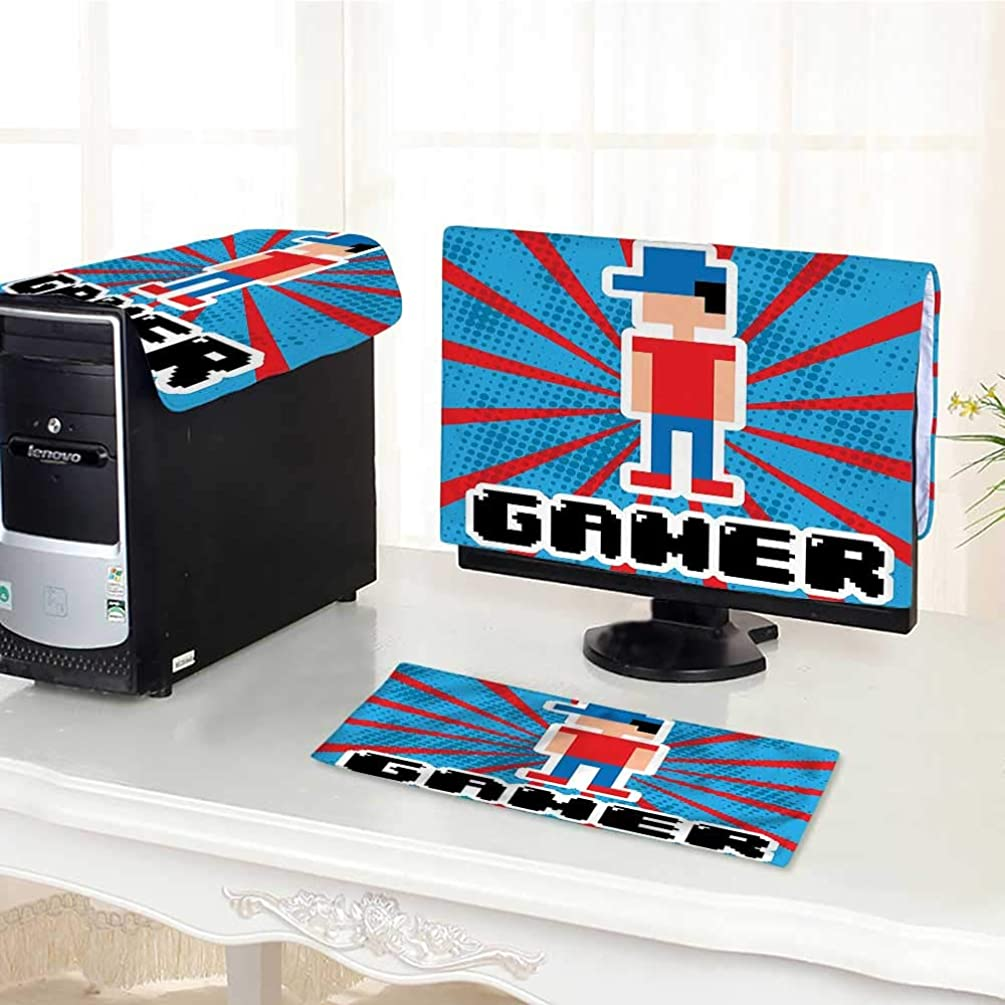 Auraisehome Computer dust Cover Blue and Red Stripes Boom Beams Retro 90s Style Toys Boy with Cap dust Cover 3 Pieces Set /30