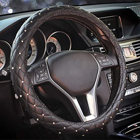 Blueshyhall Pu Leder 15 38cm Auto Lenkradhülle Lenkrad Abdeckung Anti Rutsch Lenkradabdeckung Lenkradschoner Mit Diamanten Auto