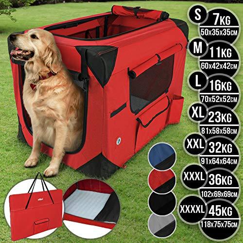 Leopet Hundebox aus Stoff - faltbar, zusammengefaltet tragbar, abwaschbar, Farbwahl, Größenwahl S-XXXXL - Hundetransportbox, Auto Transportbox, Katzenbox für Hunde, Katzen und Kleintiere (XXXL, Rot)