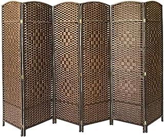 6 panel de la pantalla del panel separador de ambientes puro tejidas a mano de mimbre privacidad divisor de pantalla,Brown