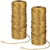 Metallic Baker Twine Christmas Craft Twine Present Wrapping Cord for Christmas DIY Crafting (2 Rolls, Gold)