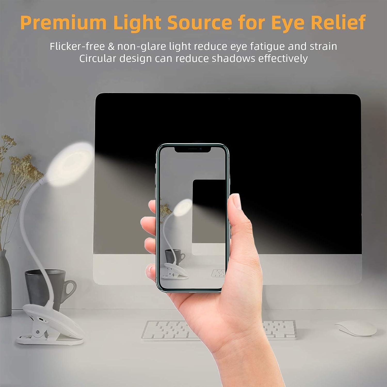 Leselampe Buch Klemme OUSFOT mit 3 Helligkeit USB Wiederaufladbar 360/° Flexibel Augenschutz Klemmlampe klemmleuchte f/ür Buch Bett