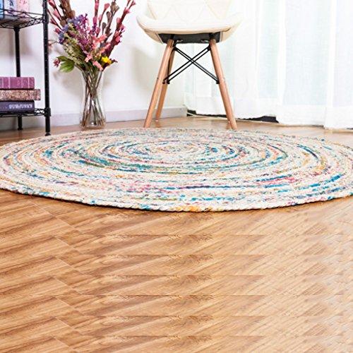 LYM #Wohnzimmer Teppich Runder Teppich handgemachte farbige Jute Runde Teppiche Studie Modell Zimmer Wohnzimmer Teppich Matten (Farbe : C, größe : ROUND-100cm)