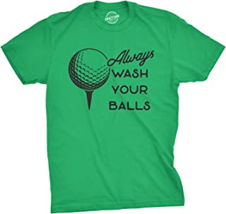 Mens Always Wash Your Balls T Shirt Funny Golf Fathers Day Golfing Gift for Dad