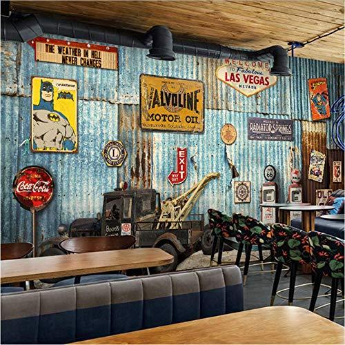 Zybnb Fotobehang 3D Retro Nostalgie Vrachtwagen IJzeren Vel Behang Industriële Stijl Grote Mural Restaurant Ktv Bar Behang