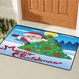 Santa Front Door mat Carpet Santa Claus Waving Hello Behind a Colorful Festive Xmas Pine Tree in Snowy Forest Machine Washable Door mat W19.7 x L31.5 Inch Multicolor
