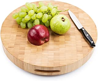 Warm Home Designs Extra Large End Grain 15 x 2 Inch Round Bamboo Butcher Block/Chopping Board with 4 Feet. Use it as Carving Board, or Wooden Cheese Board. Round Chopping Block 2
