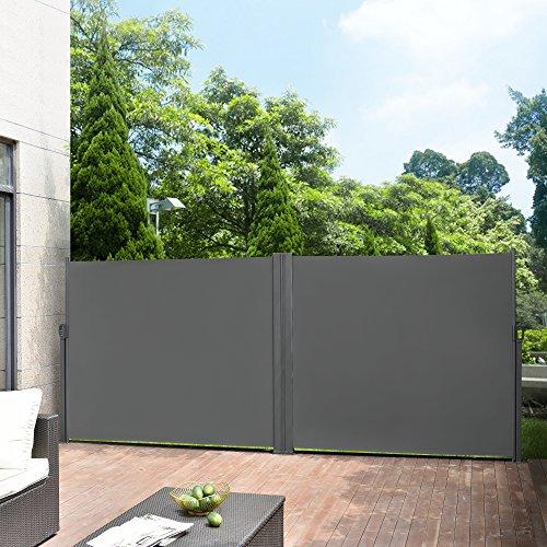 pro.tec] Doppelte Seitenmarkise 2 x 300 x 160 cm Grau Sichtschutz Markise Sonnen- & Windschutz