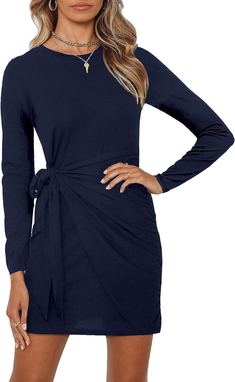 PAPOSON Women's Fall Long Sleeve T-Shirt Dresses Crew Neck Bodycon Tie-Waist Ruched Mini Dress