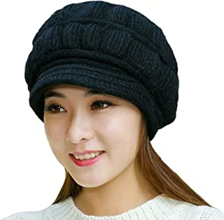 Women's Winter Warm Hat Crochet Slouchy Beanie Knitted Caps with Visor