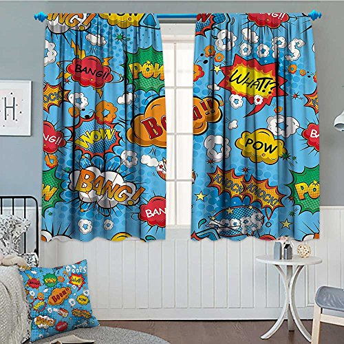 "SeptSonne-Home Superhero Patterned Drape for Glass Door Colorful Comic Style Icons Effects Boom Scream Magazine Signs Pop Art Illustarion Waterproof Window Curtain 52""x63"" Multicolor"