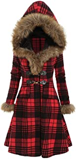 E-Scenery 2019 Womens Hoodie Faux Fur Coat Warm Fashion Plus Size Plaid Longline Overcoat