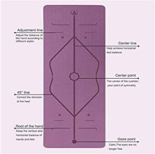 Premium Quality Yoga Mat (TPE) - Eco Friendly, Non Slippery, Light Weight, Unique Body Line Alignment + Carrying Bag and E...