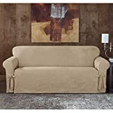 Sure Fit Designer Sueded Twill Loveseat Slipcover in Taupe