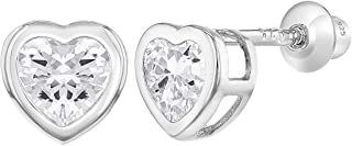 925 Sterling Silver CZ Small Heart Screw Back Earrings Baby Girl