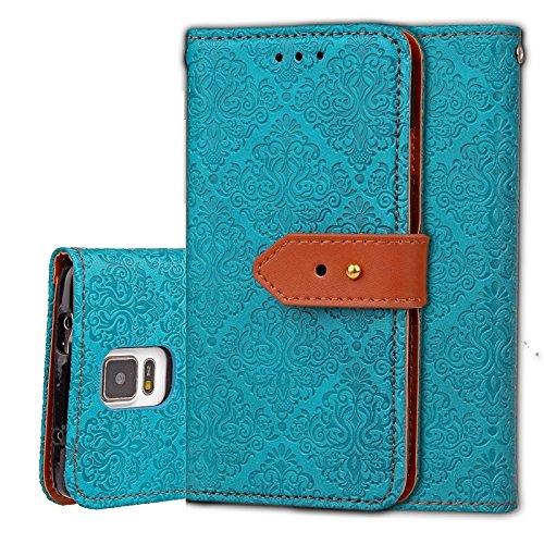 Zhanying pour Samsung Galaxy Note 4 Flip Wallet Case avec Support et Fente pour Carte Magnetic Closure Style européen Mural Relief en Cuir PU (Couleur : Bleu)