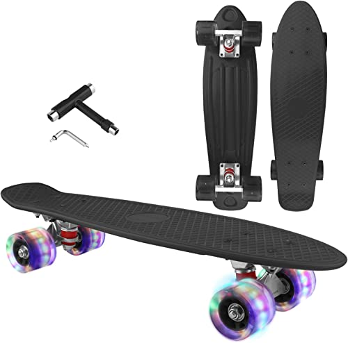 LOVELY DECOR Skateboard Cruiser Complete - 27 inch Skateboards with LED Light Up Wheels with All-in-one T-Tool for Beginners