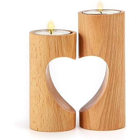 Teelicht Teelichthalter Holz mit Stoffherz 2er Set H 11 cm