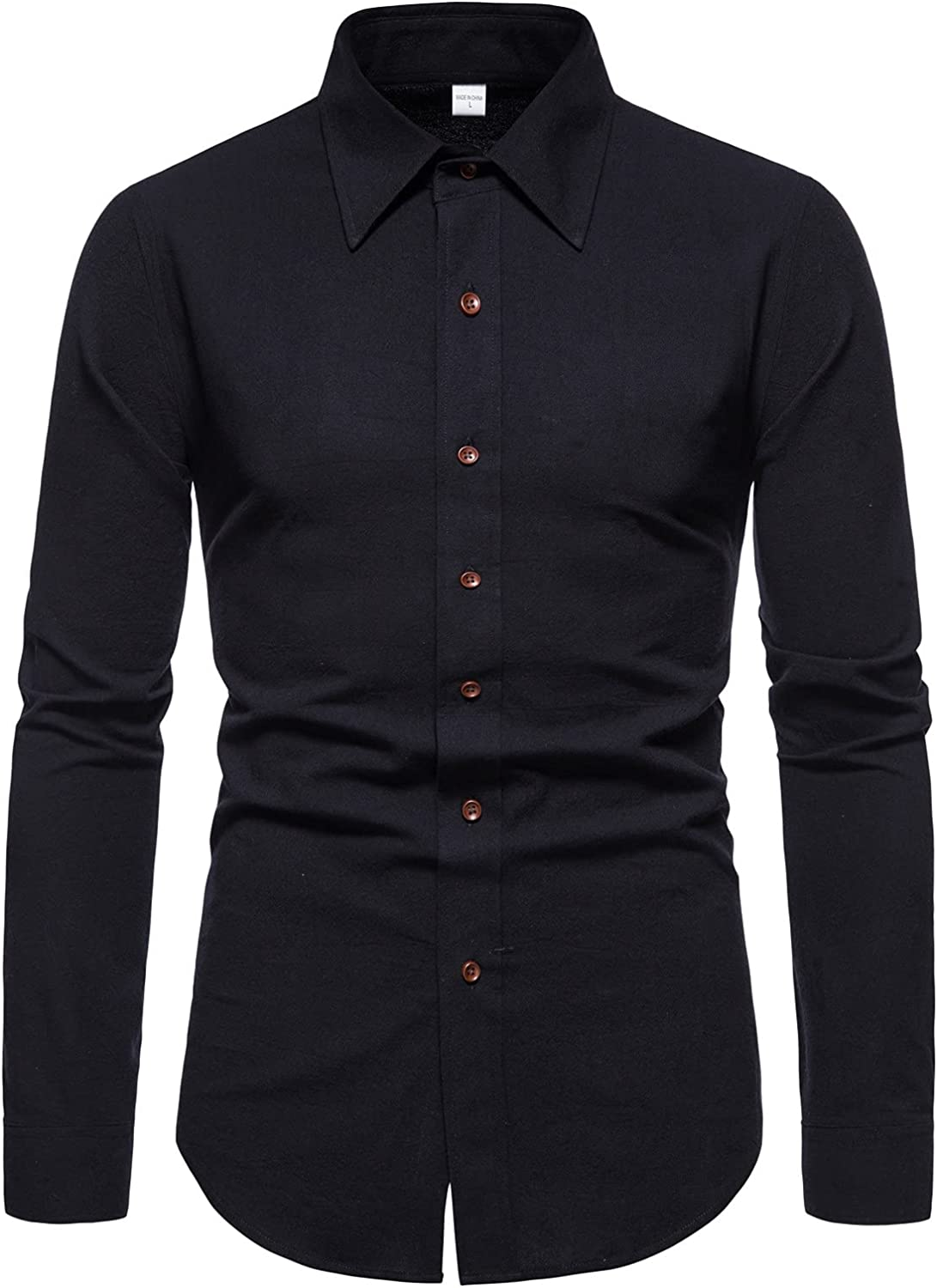 Mens Dress Shirts Long Sleeve Casual Slim Fit Button Turn-Down Collar Tops Lightweight Blouse for Party Prom