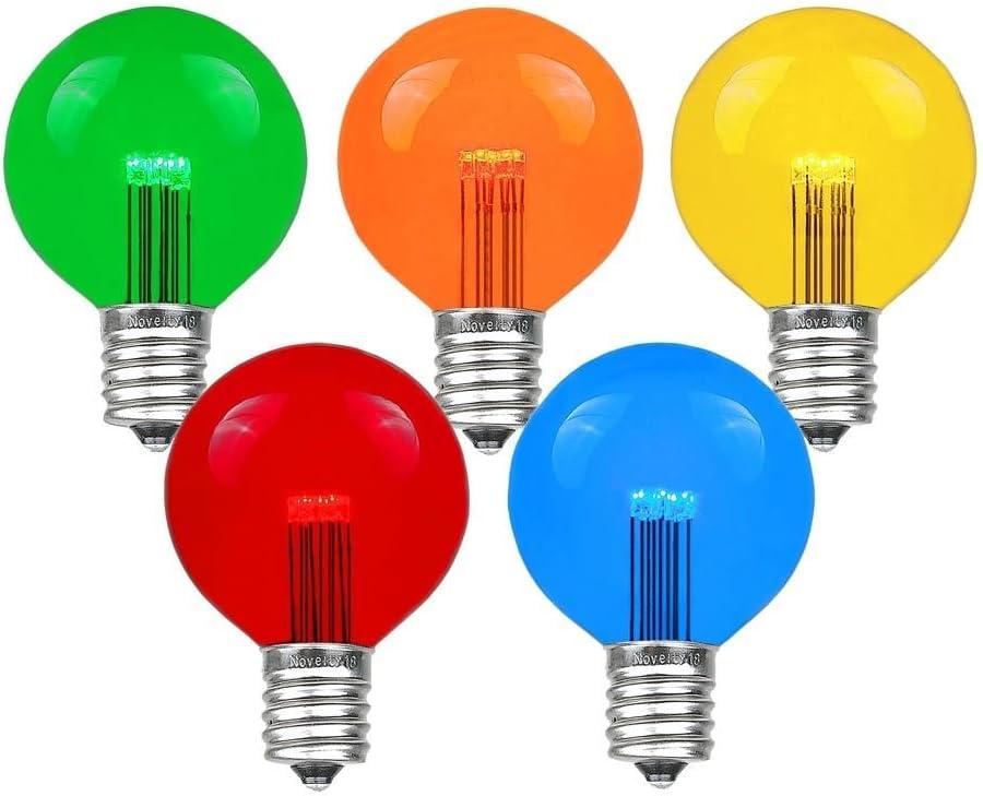 Novelty Lights 期間限定特価品 25 Pack LED G50 Patio 新発売 Globe Replacement Outdoor B