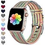HUMENN Compatible pour Le Bracelet Apple Watch 38mm 40mm 42mm 44mm, Bracelet Sport de Rechange en Nylon Tissé avec Boucle en Métal pour La Série iWatch 5 4 3 2 1, Coloré 42mm/44mm