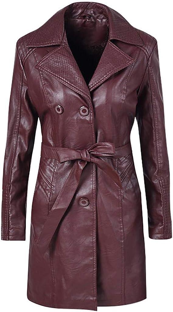 TOTOD Trench Jacket for Women PU Faux Leather Fleece Lined Coat Windproof Warm Long Parka Outwear Windbreaker