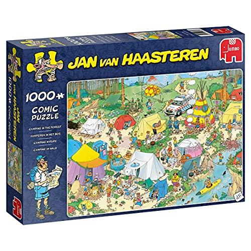 Jumbo Puzzles 19086 Jan Van Haasteren-Camping im Wald-1000 Teile Puzzlespiel, Mehrfarben