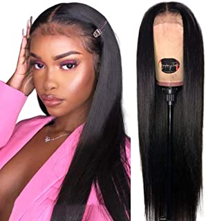 Straight Lace Front Wigs Human Hair for Black Women (22 Inch 150% Density) Jaja Hair 13x4 Lace Front Wigs Brazilian Straight Wigs Bleached Knots Pre Plucked Hairline with Baby Hair Natural Black Color