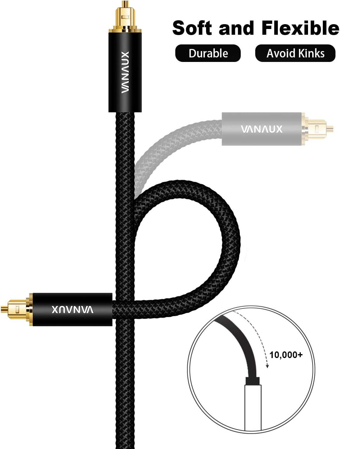 Home Theater VANAUX Right Angle Digital Audio Toslink Cable for S//PDIF Audio Converter PS4 1.5 meters TV Sound Bar 90 Degree Optical Audio Cable Playstation Xbox