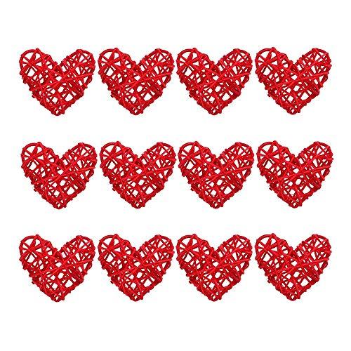 Kuinayouyi 12Pcs Heart Shaped Wicker Balls Decorative Rattan Balls DIY Craft Hanging Balls Ornaments for Wedding Party (2.4 In/6cm)