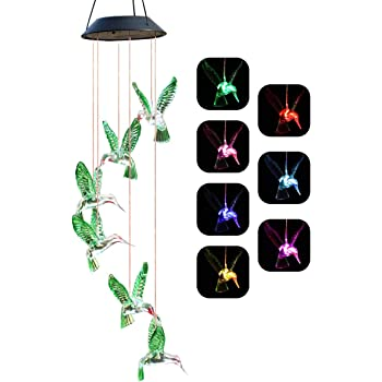 Chasgo Solar Hummingbird Wind Chime Color Changing Solar Mobile Wind Chime Outdoor Mobile Hanging Patio Light