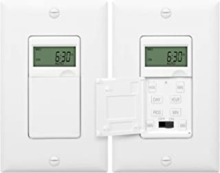 ENERLITES Programmable Digital Timer Switch for Lights, Fans, Motors, 7-Day 18 ON/OFF Timer Settings, Single Pole, Neutral Wire Required, UL Listed, HET01-C, White, 2 Pack