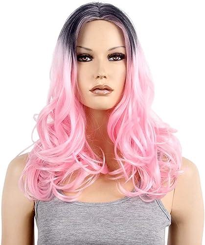 KERVINFENDRIYUN YY4 Perruques Couleurées pour les femmes sexy longues filles ondulées de cheveux pour Cosplay HalFaibleeen Party (Couleur   rose)