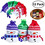 12PCS Christmas Drawstring Gift Bags for Holiday Party Favors and Decorations, Treats, Christmas Draw String Candy Goodie Bags, 3 Colors, Snowman Design